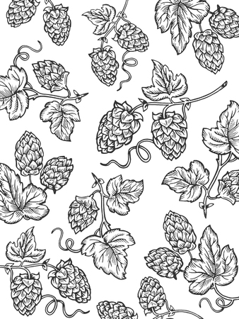 Hops background cartoon coloring vector illustration. White background. Comic book style imitation.