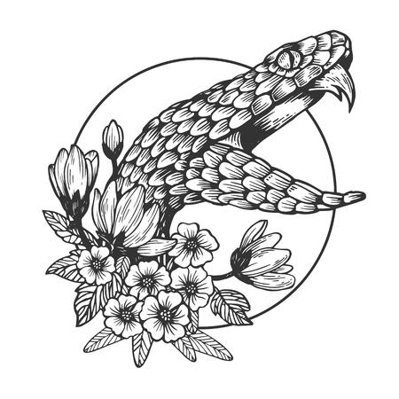 Tête de serpent illustration vectorielle de gravure animale. Imitation de style planche à gratter. Image dessinée à la main en noir et blanc.
