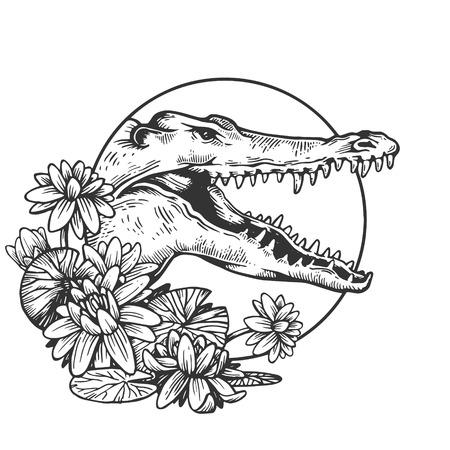 Coccodrillo rettile testa animale incisione illustrazione vettoriale. Imitazione di stile gratta e vinci. Immagine disegnata a mano in bianco e nero. Vettoriali