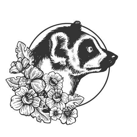 Lemur head animal engraving vector illustration. Scratch board style imitation. Black and white hand drawn image. Illustration