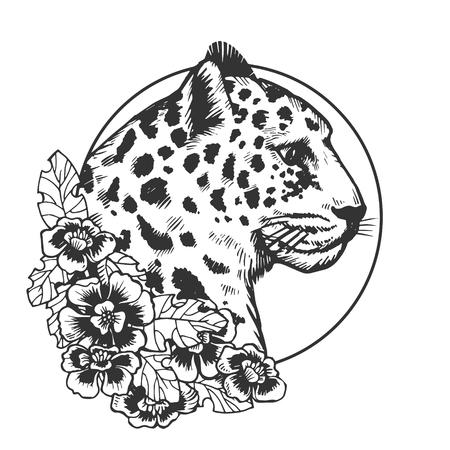 Illustrazione di vettore di incisione animale testa di leopardo. Imitazione di stile scratch board. Immagine disegnata a mano in bianco e nero. Vettoriali