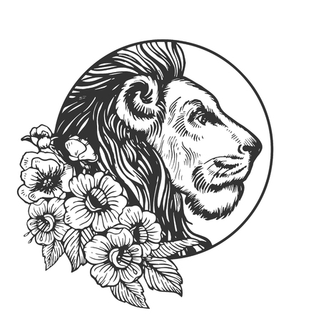 Lion head animal engraving vector illustration. Scratch board style imitation. Black and white hand drawn image. Çizim
