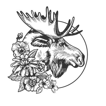 Moose head animal engraving vector Vectores