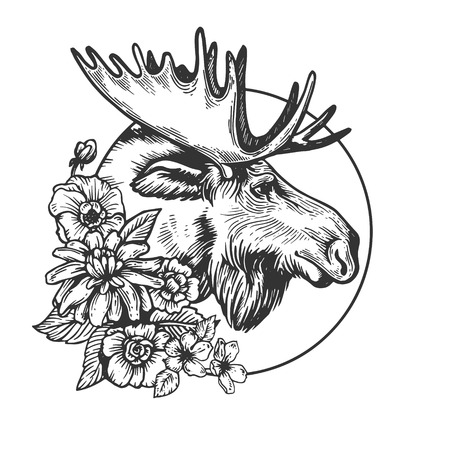 Moose head animal engraving vector Çizim