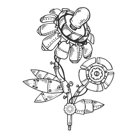 Mechanical flower engraving vector Ilustração