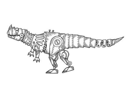 Mechanical Tyrannosaurus dinosaur animal engraving vector illustration. Scratch board style imitation. Black and white hand drawn image.