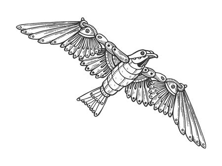 メカニカルカモメの鳥類の彫刻ベクトルイラスト。スクラッチボードスタイルの模倣。黒と白の手描きのイメージ。