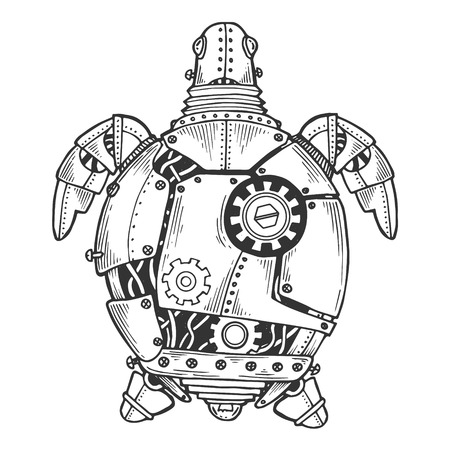 Mechanical turtle animal engraving vector illustration. Scratch board style imitation. Black and white hand drawn image.