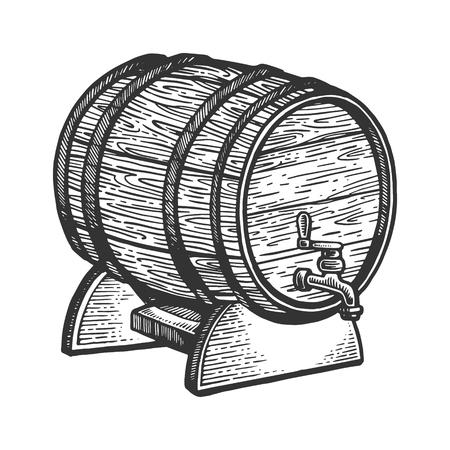 Ilustracja wektorowa Grawerowanie beczki piwa wina