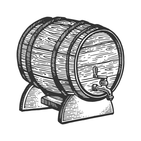 Wine beer barrel engraving vector illustration