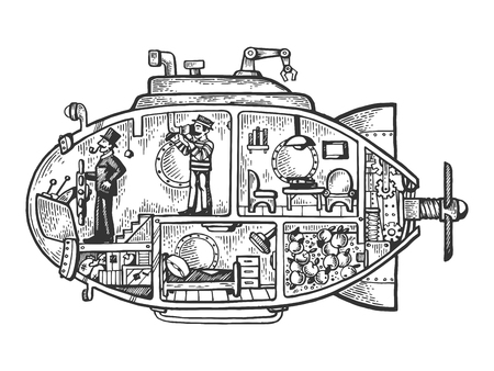Fantastic fabulous submarine engraving vector illustration. Scratch board style imitation. Black and white hand drawn image.