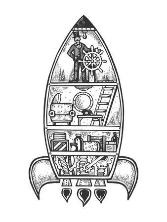 Fantastic fabulous spaceship engraving vector illustration. Scratch board style imitation. Black and white hand drawn image.