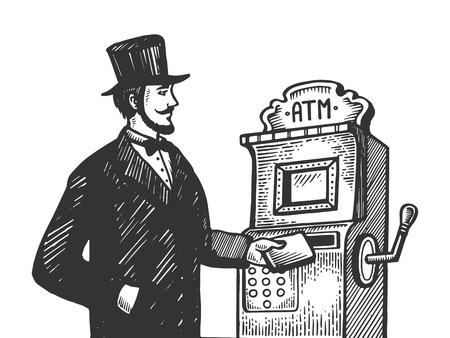Fantastic vintage fake Automatic Teller Machine engraving vector illustration. Scratch board style imitation. Black and white hand drawn image. Imagens