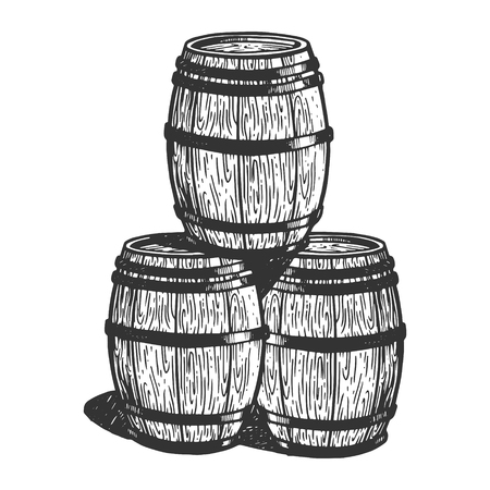 Wine beer wooden barrels engraving vector illustration. Scratch board style imitation. Black and white hand drawn image.