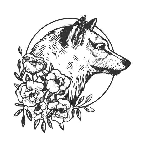 Ilustración de vector de grabado animal cabeza de lobo. Imitación de tablero de rascar. Imagen dibujada a mano en blanco y negro.
