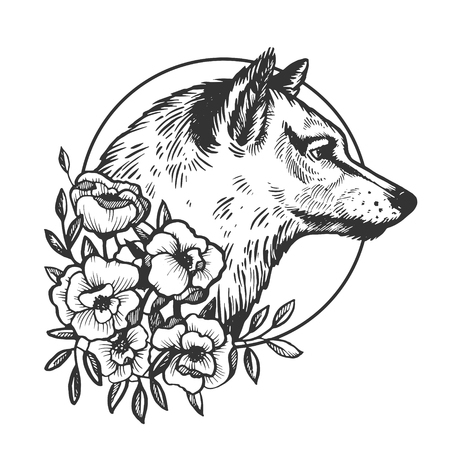 Wolf head animal engraving vector illustration. Scratch board style imitation. Black and white hand drawn image. Ilustração