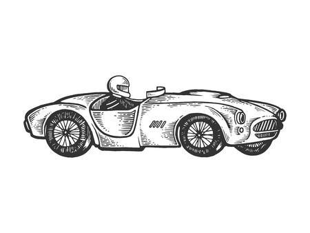 Antiguo coche de carreras deportivo grabado ilustración vectorial. Imitación de tablero de rascar. Imagen dibujada a mano en blanco y negro. Ilustración de vector