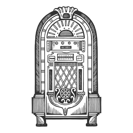 Jukebox engraving vector illustration. Scratch board style imitation. Black and white hand drawn image. Illustration