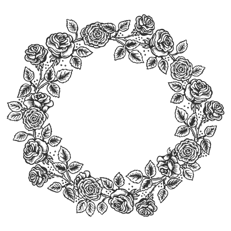 Rose flower wreath frame engraving vector illustration. Scratch board style imitation. Black and white hand drawn image.