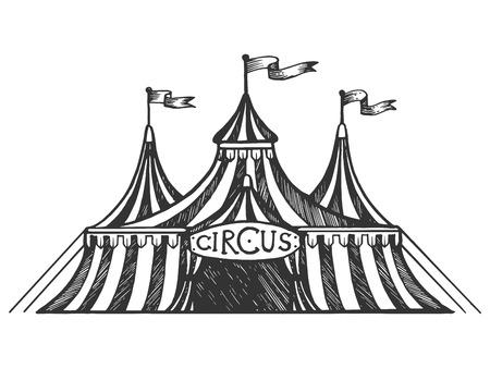 Carpa de circo grabado ilustración vectorial. Imitación de tablero de rascar. Imagen dibujada a mano en blanco y negro.