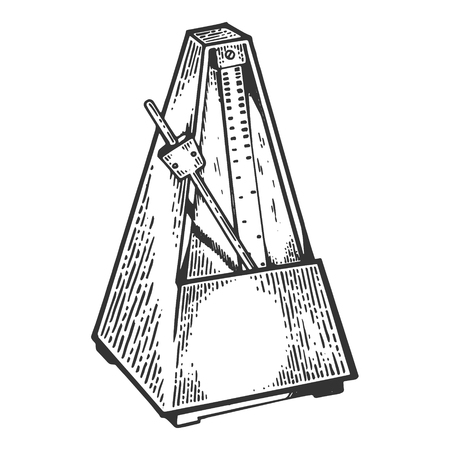 Metronome tool engraving vector illustration. Scratch board style imitation. Black and white hand drawn image.