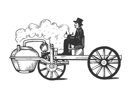 Ilustración de vector de grabado de coche de motor de vapor. Imitación de tablero de rascar. Imagen dibujada a mano en blanco y negro. Ilustración de vector
