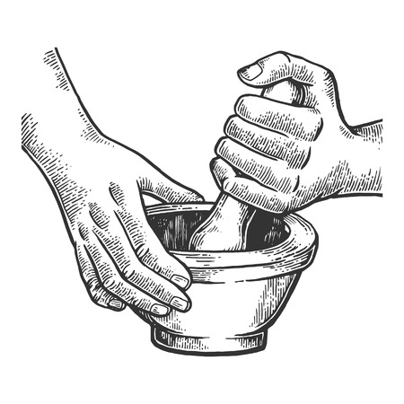 Mortar and pestle engraving vector illustration 스톡 콘텐츠