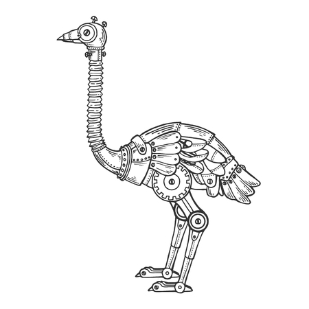 Mechanical ostrich bird animal vector engraving