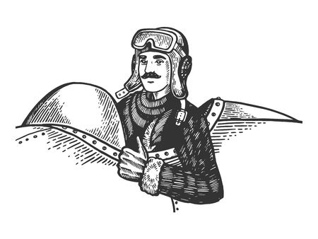 Pilot in plane engraving vector illustration. Scratch board style imitation. Black and white hand drawn image.
