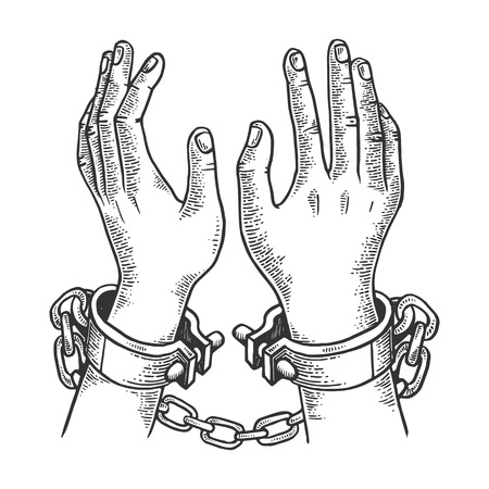 Hands in handcuffs engraving vector illustration. Scratch board style imitation. Black and white hand drawn image. Imagens