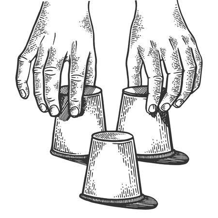 Shell game thimblerigger hands engraving vector illustration. Scratch board style imitation. Black and white hand drawn image. Stok Fotoğraf