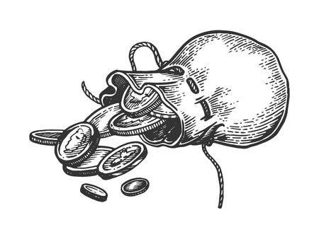 Ilustración de vector de grabado de bolsa de monedas. Imitación de tablero de rascar. Imagen dibujada a mano en blanco y negro.