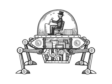 Steam engine car engraving vector illustration. Scratch board style imitation. Black and white hand drawn image.