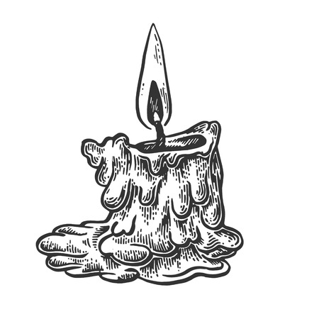 Burning candle engraving vector illustration. Scratch board style imitation. Black and white hand drawn image. Çizim
