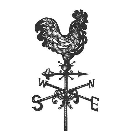 Weather vane rooster engraving vector illustration. Scratch board style imitation. Black and white hand drawn image. Ilustração