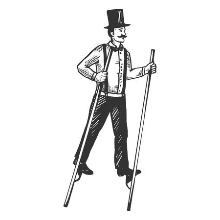Uomo sui trampoli incisione illustrazione vettoriale. Imitazione di stile scratch board. Immagine disegnata a mano in bianco e nero.