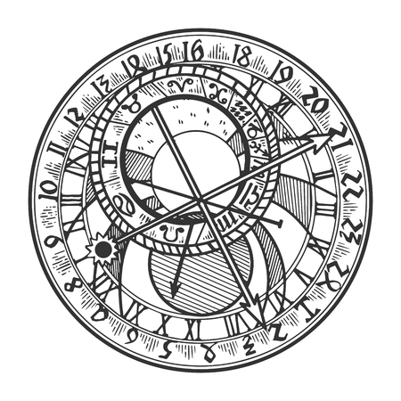 Prague astronomical clock vector illustration