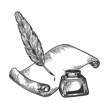 Pluma de papel y tinta grabado ilustración vectorial. Imitación de tablero de rascar. Imagen dibujada a mano en blanco y negro.