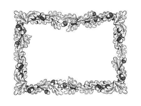 Ilustración de vector de grabado de marco de roble. Imitación de tablero de rascar. Imagen dibujada a mano.