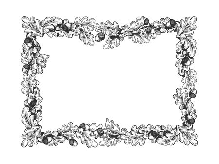 oak frame engraving vector illustration. Scratch board style imitation. Hand drawn image.