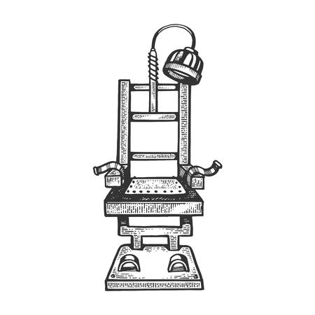 illustrazione vettoriale di incisione sedia elettrica. Imitazione di stile gratta e vinci. Immagine disegnata a mano in bianco e nero.