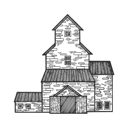Grain storage building engraving vector illustration. Scratch board style imitation. Black and white hand drawn image.
