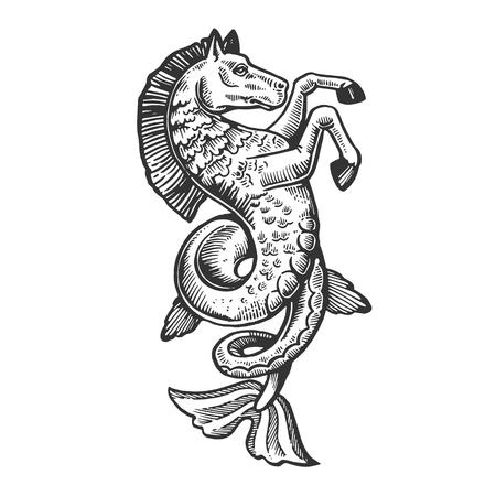 Fantastico favoloso pesce cavallo animale incisione illustrazione vettoriale. Imitazione di stile gratta e vinci. Immagine disegnata a mano in bianco e nero.