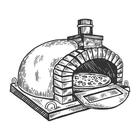 horno de pizza grabado ilustración vectorial. Imitación de tablero de rascar. Imagen dibujada a mano en blanco y negro. Foto de archivo