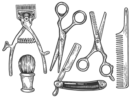 Vintage barber tools engraving vector illustration. Scratch board style imitation. Black and white hand drawn image. Stock fotó - 107021222