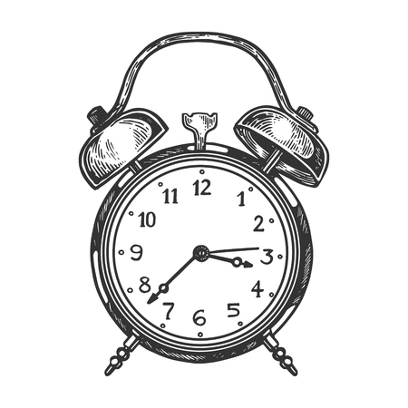 Alarm clock engraving vector illustration. Scratch board style imitation. Black and white hand drawn image.