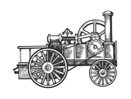 Ilustración de vector de grabado de tractor de motor de vapor. Imitación de tablero de rascar. Imagen dibujada a mano en blanco y negro.
