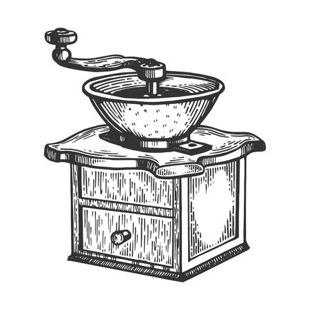 Kaffeemühle Gravurvektorillustration Standard-Bild