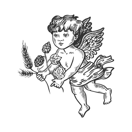 Angel with barley and hops engraving vector Standard-Bild - 107203201