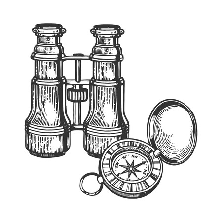 Binoculars and compass engraving vector